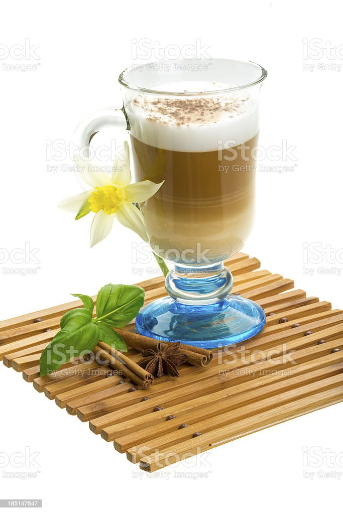 Coffee Late with Flower, mint, star-anise and cinnamon royalty-free stock photo