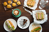 coffee , latte and cakes flat lay view