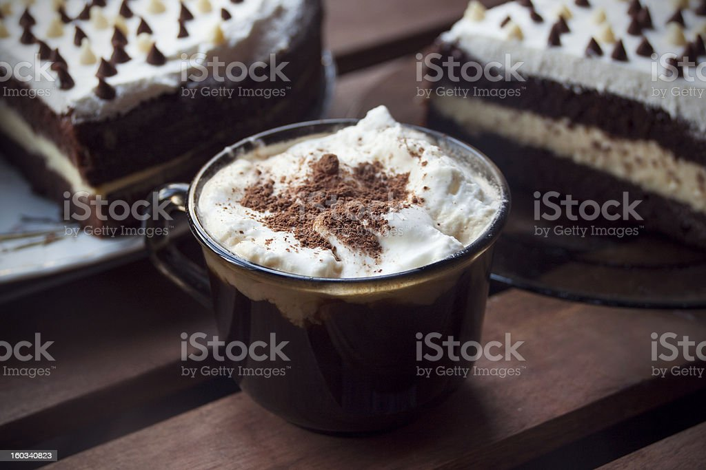 coffee latte and chocolate cake royalty-free stock photo