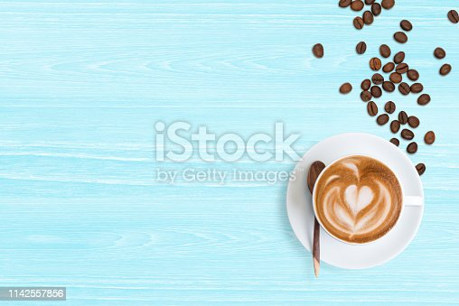 istock Coffee Latte and coffee beans 1142557856