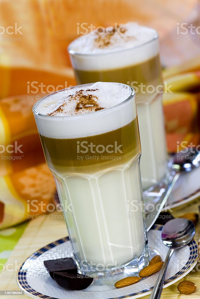 Coffee Latte Macchiato in a glass,shallow depth of field royalty-free stock photo
