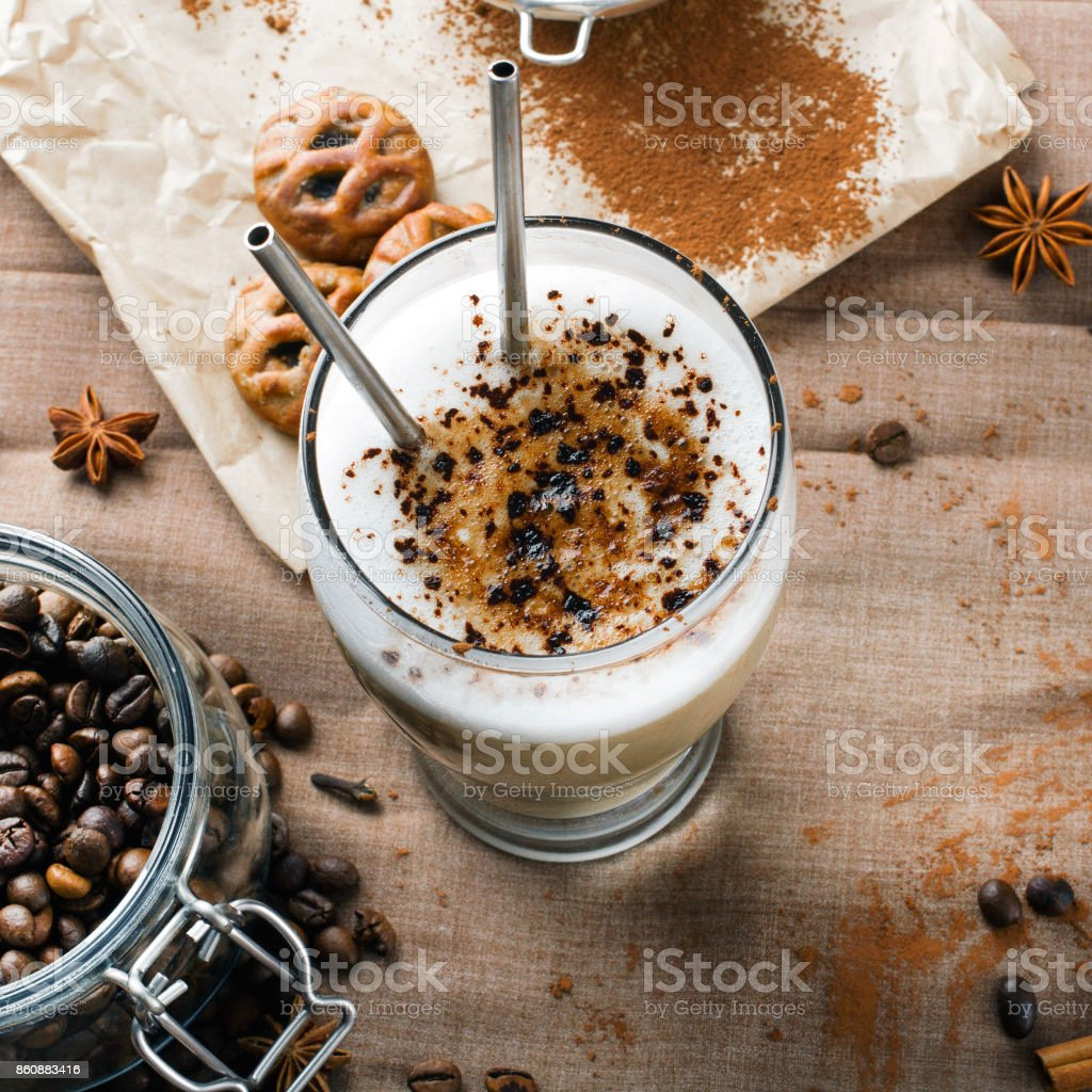 coffee latte with chocolate sprinkles stock photo