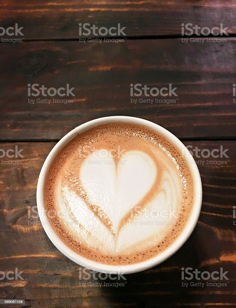 Coffee Love Wood Background stock photo
