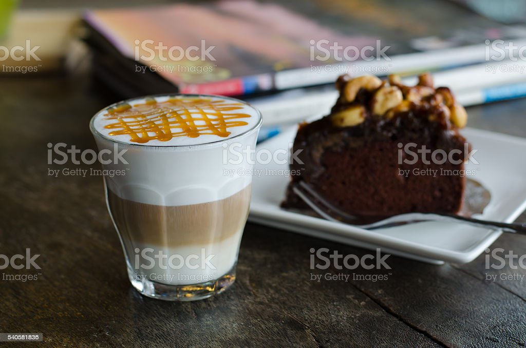 coffee macchiato and Toffee cake stock photo