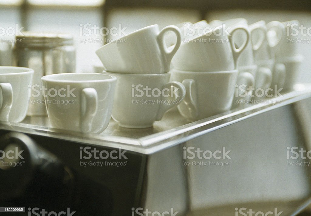 Coffee machine and cups royalty-free stock photo
