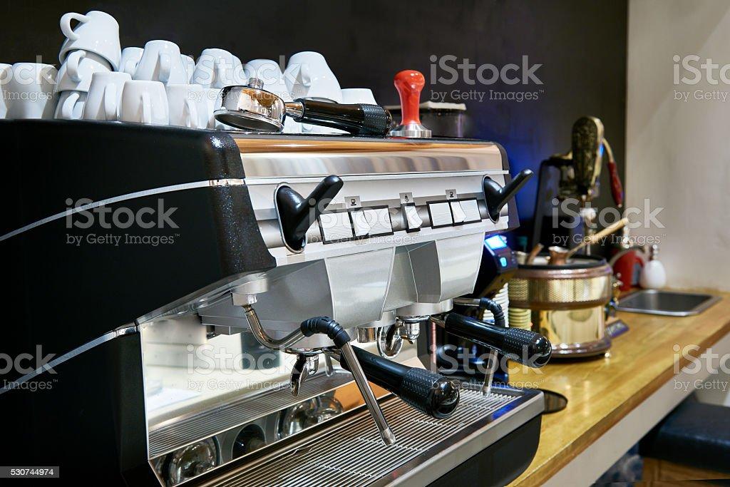 Coffee machine in restaurant bar stock photo