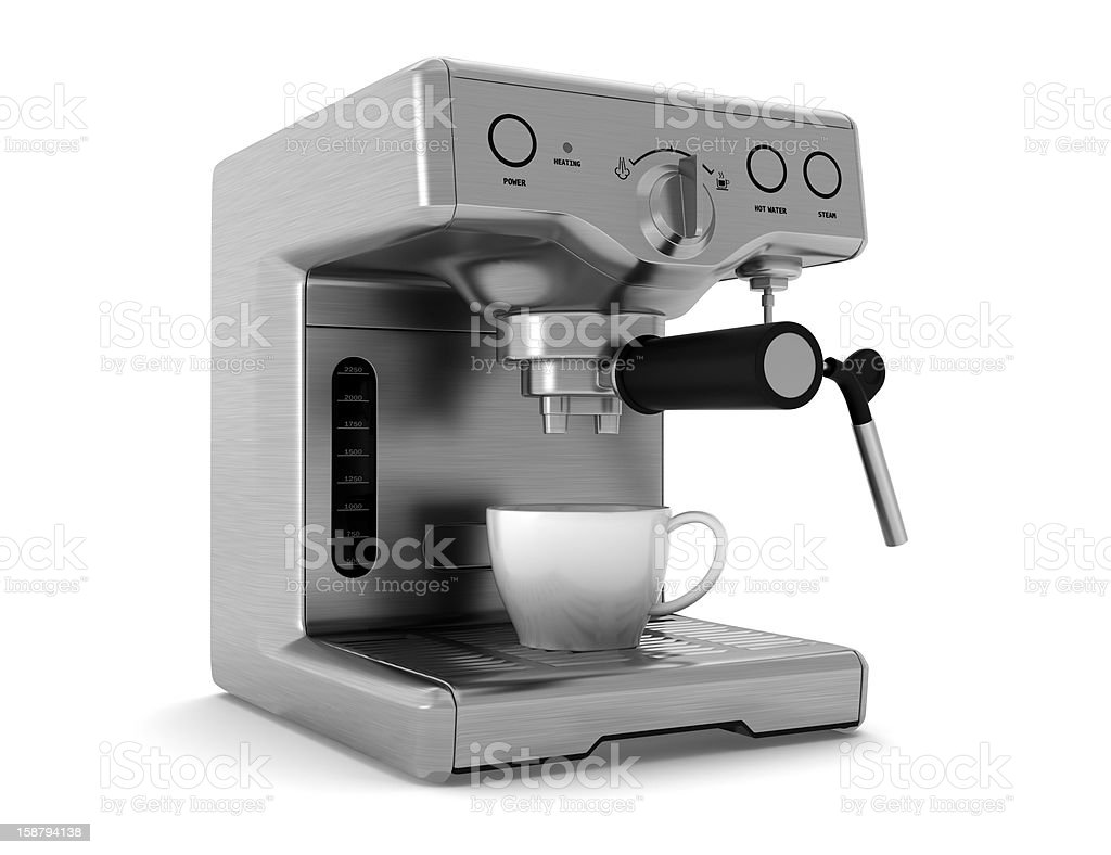 coffee machine isolated on white background with clipping path stock photo