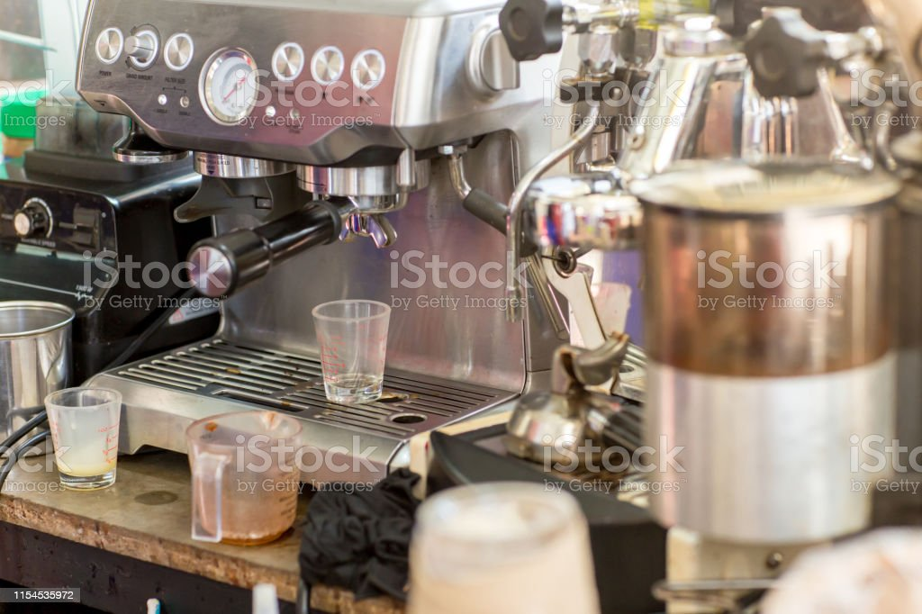 Coffee machine ready to make good a cup of espresso in cafe. coffee...