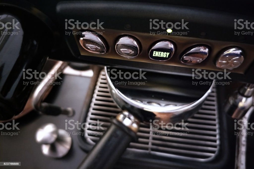 Coffee machine with Enerygy led light showing up stock photo