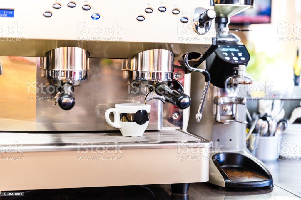 Coffee maker in a cafeteria stock photo