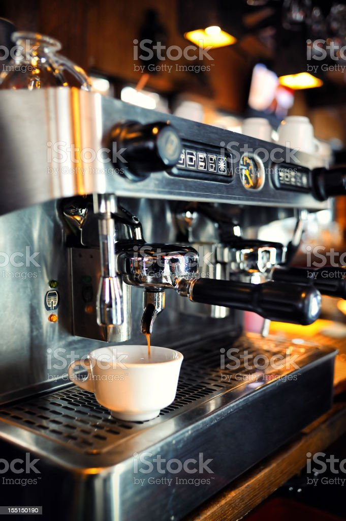 Coffee maker in a restaurant stock photo