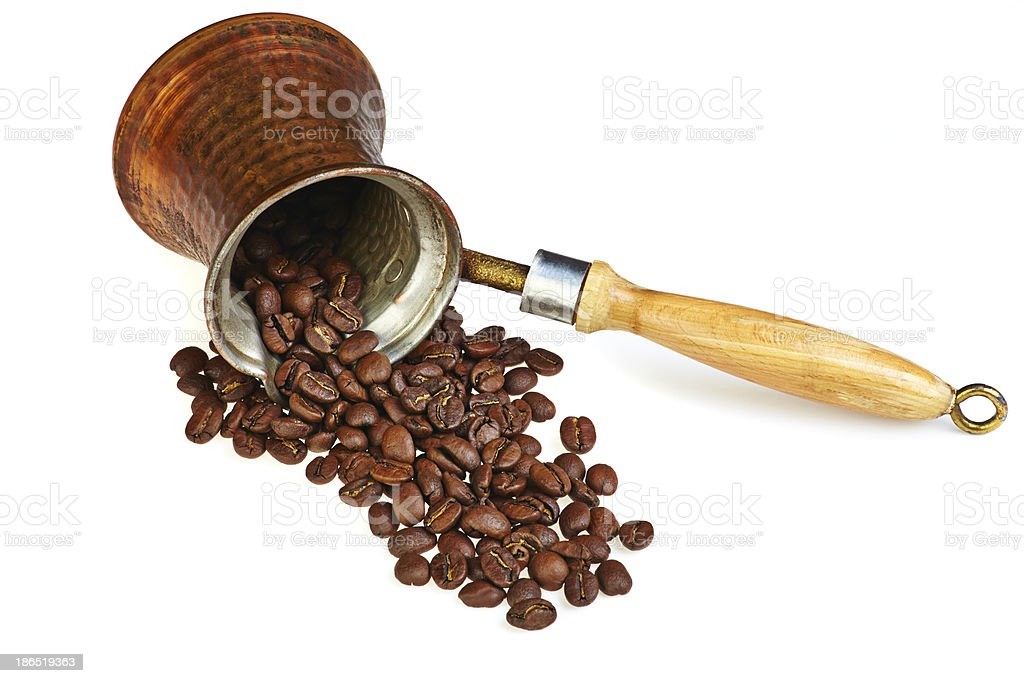 Coffee maker with  beans on white royalty-free stock photo