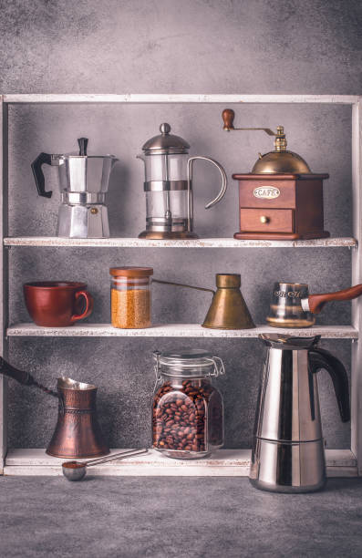 Cтоковое фото Coffee making tools on shelves