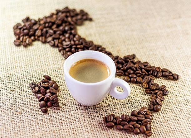 Kaffee-Karte von Italien und espresso – Foto
