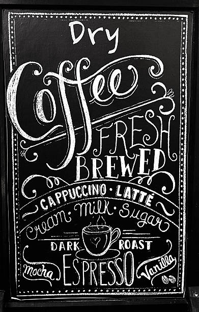 Coffee menu on blackboard stock photo