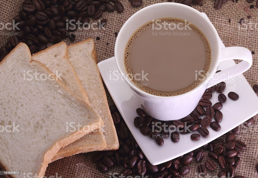 coffee milk and beans royalty-free stock photo