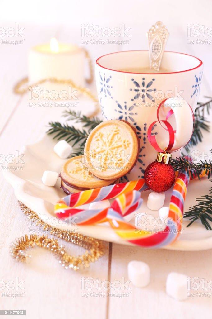 Coffee milk and christmas sugar cookies stock photo