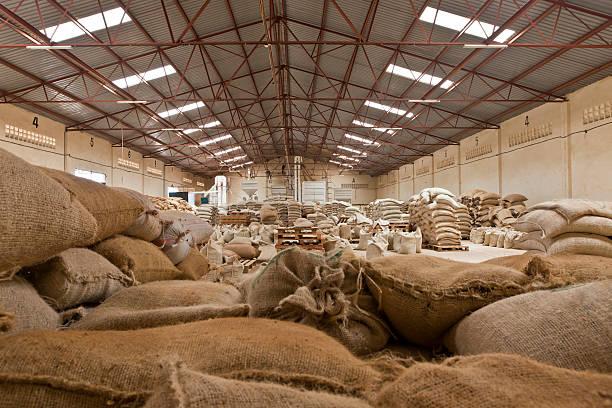 Coffee Mill Warehouse Outside Nairobi Kenya stock photo