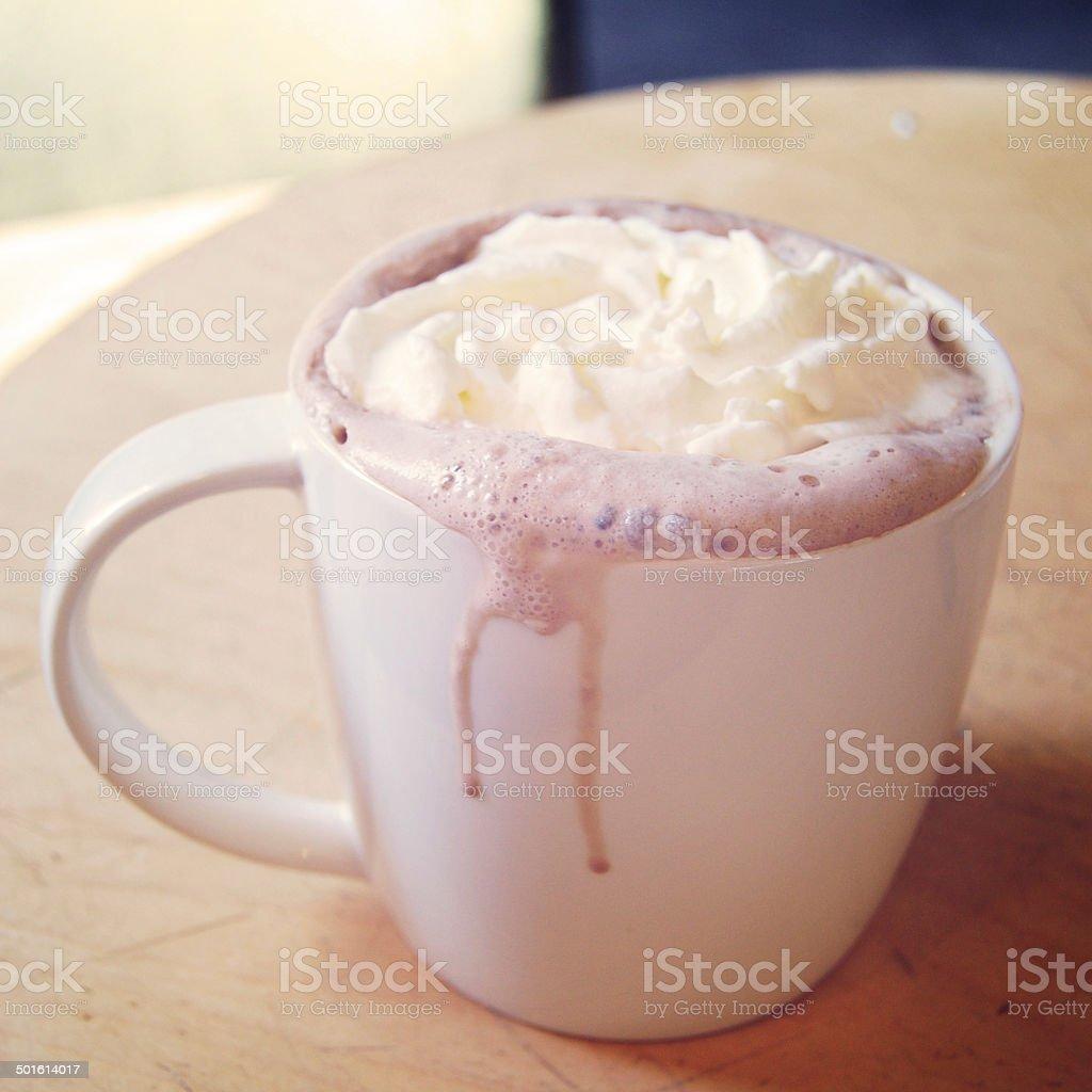 Coffee mocha with cream vintage effect. Breakfast photo retro filter. royalty-free stock photo