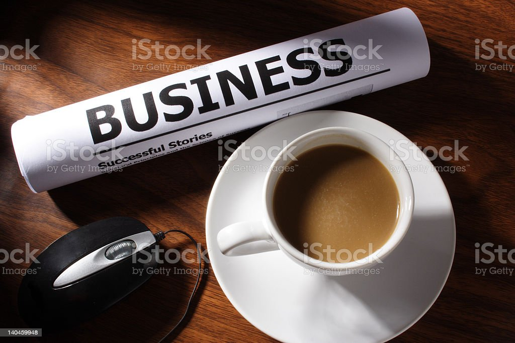 Coffee, Mouse and Business File on Table royalty-free stock photo