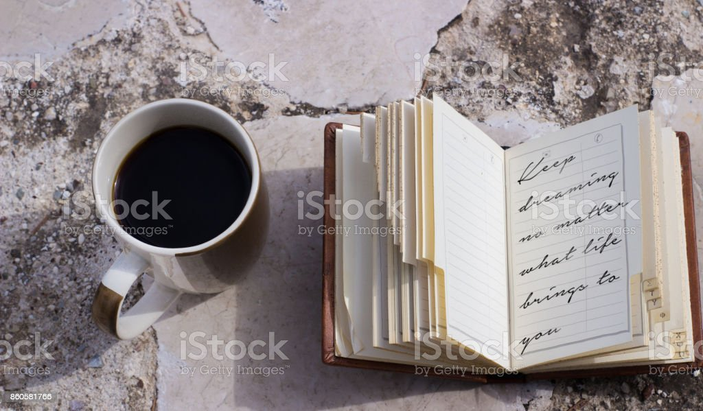 coffee mug and notebook stock photo