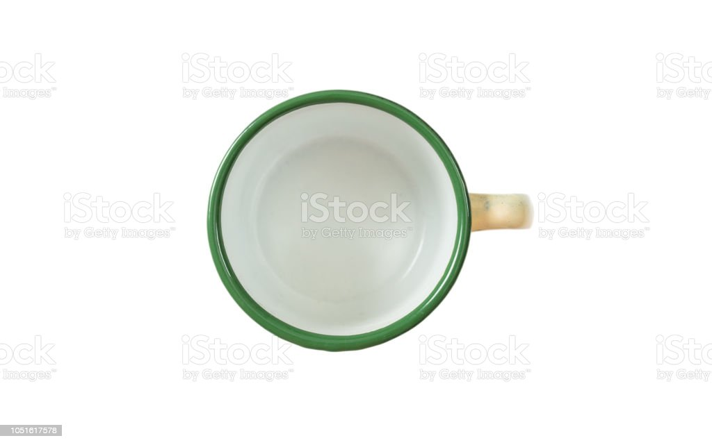 Coffee Mug Enamel Green With Top View Cut Out Isolated On A