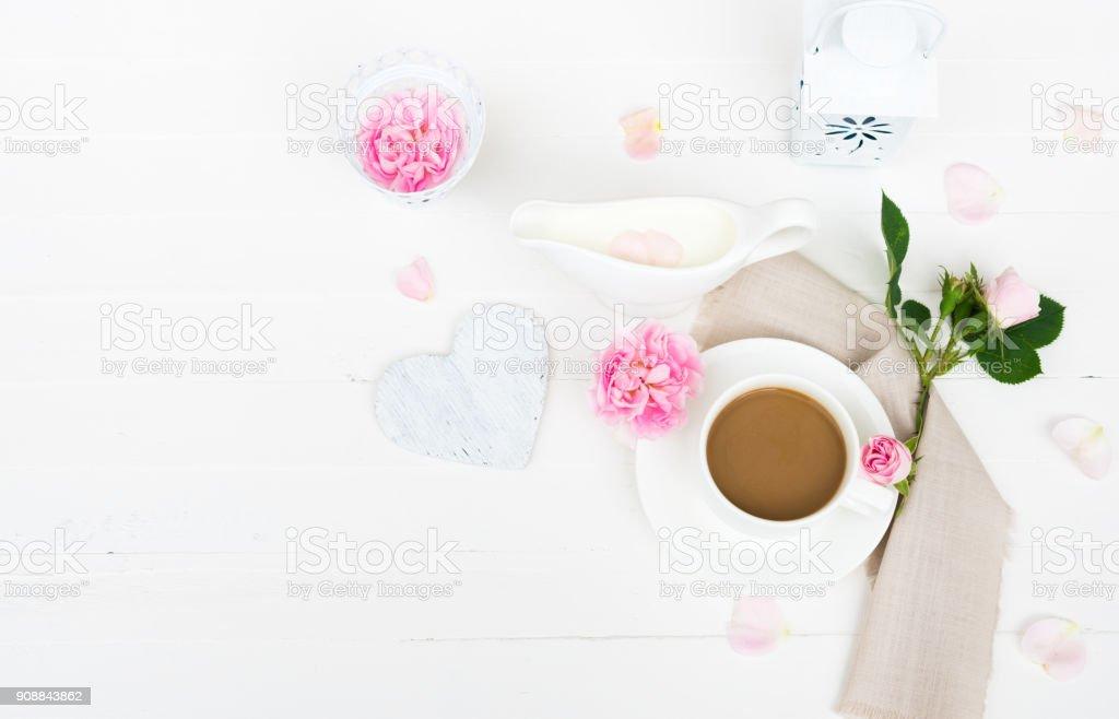 Coffee Mug Milk Pink Roses Flowers Rose Petals Heart On White Wooden