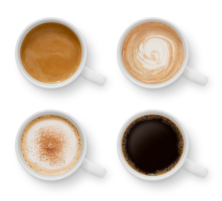 Collection of four mugs with different coffee types isolated on white