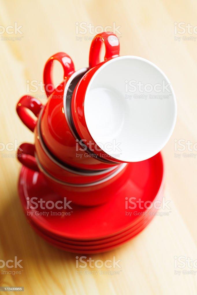 Coffee mugs pile royalty-free stock photo