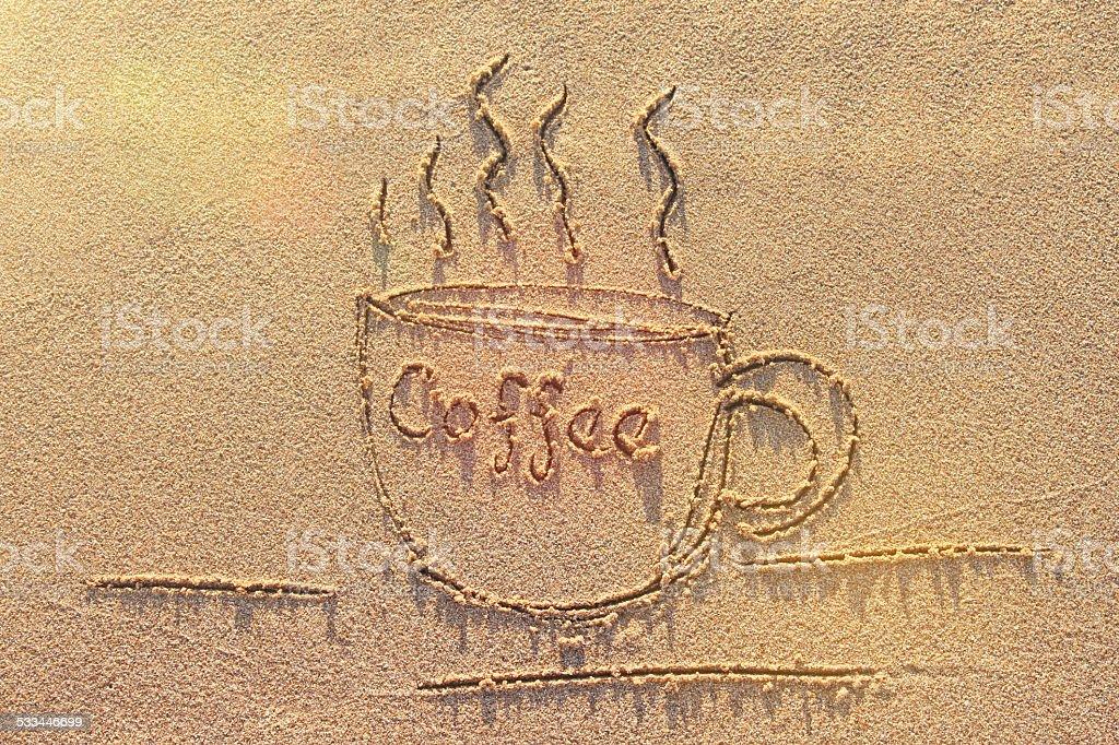 Coffee on a Beach stock photo