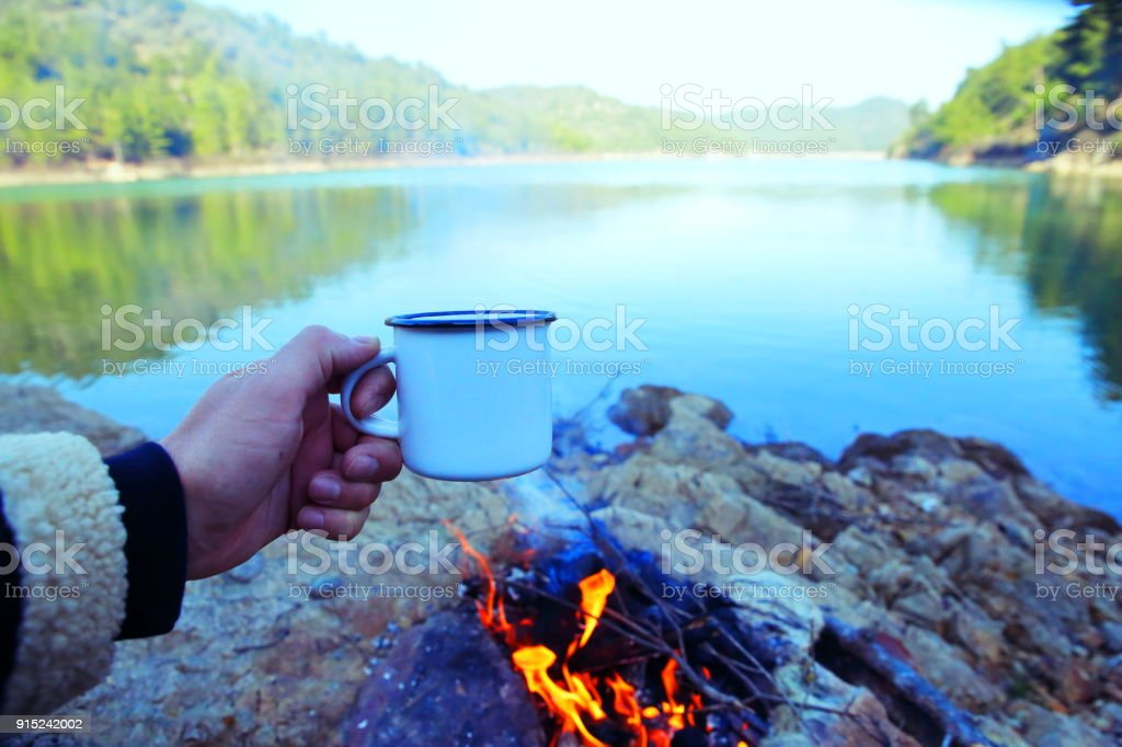 Coffee On A Camp fire stock photo