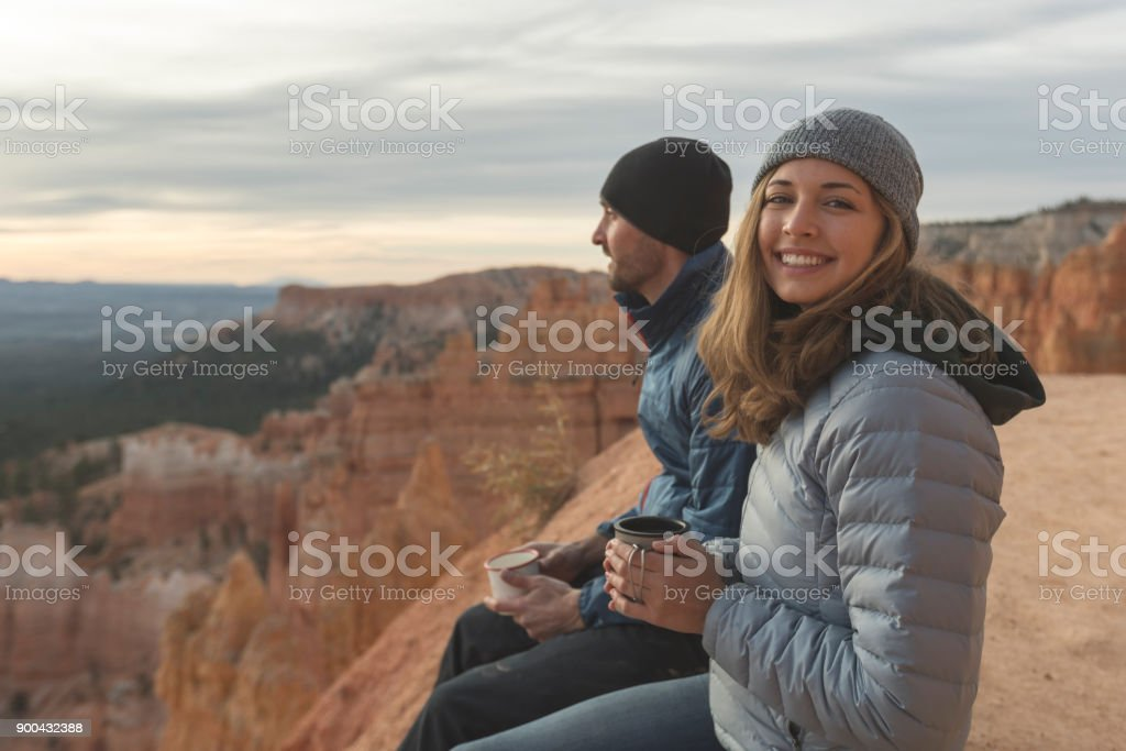Coffee on a Cliff stock photo