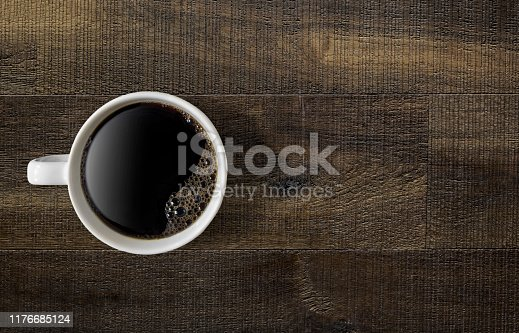 Coffee mug on a wooden table
