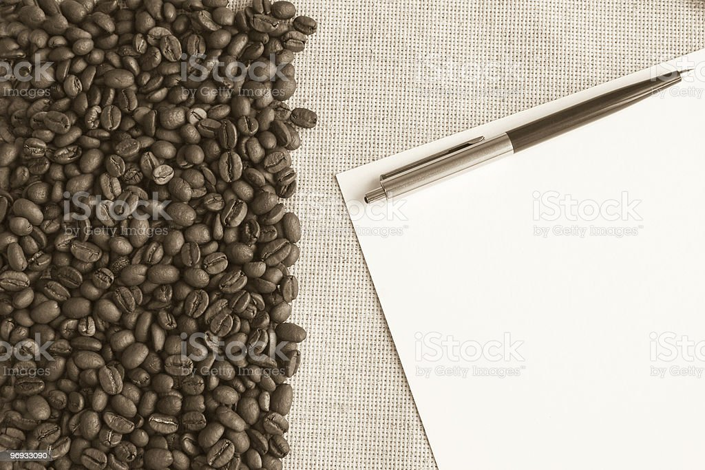 coffee on fabric background royalty-free stock photo