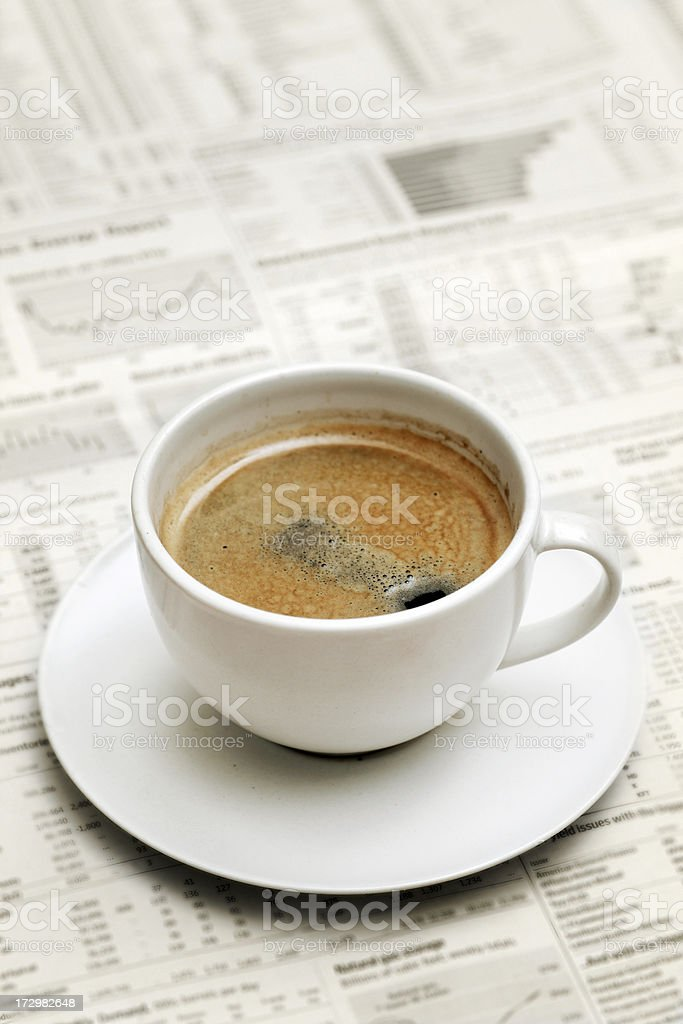 Coffee on Newspaper royalty-free stock photo