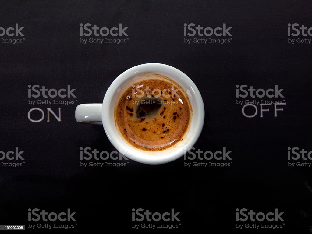 Coffee on - off switch stock photo
