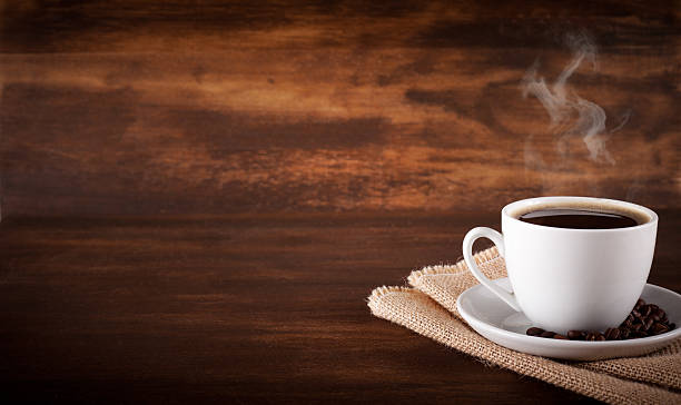 Coffee on wood background stock photo