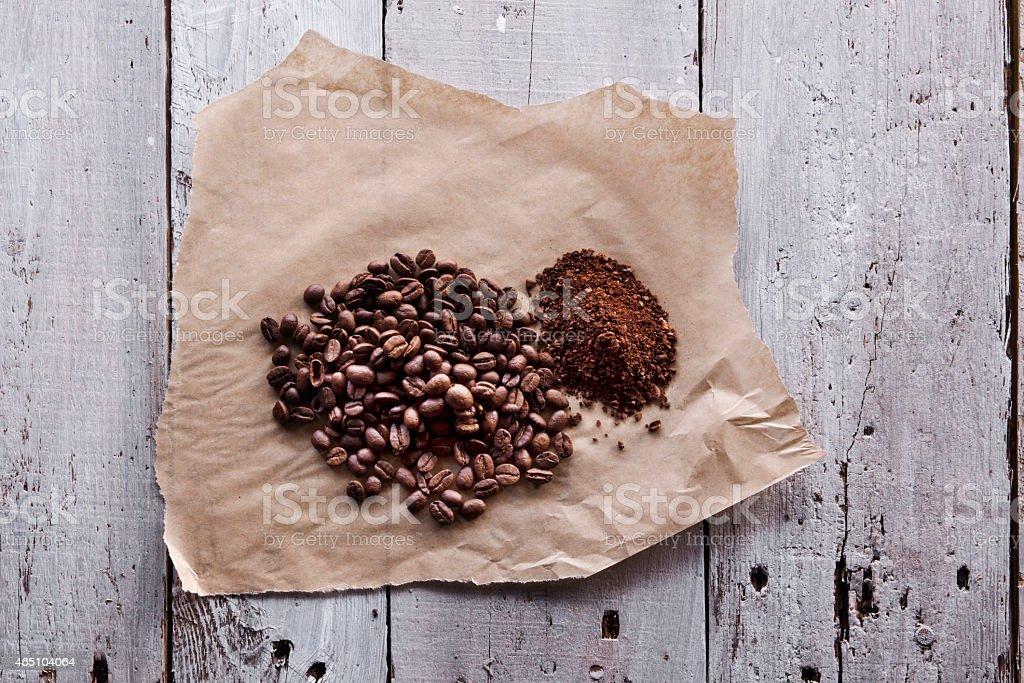 Coffee on Wood stock photo