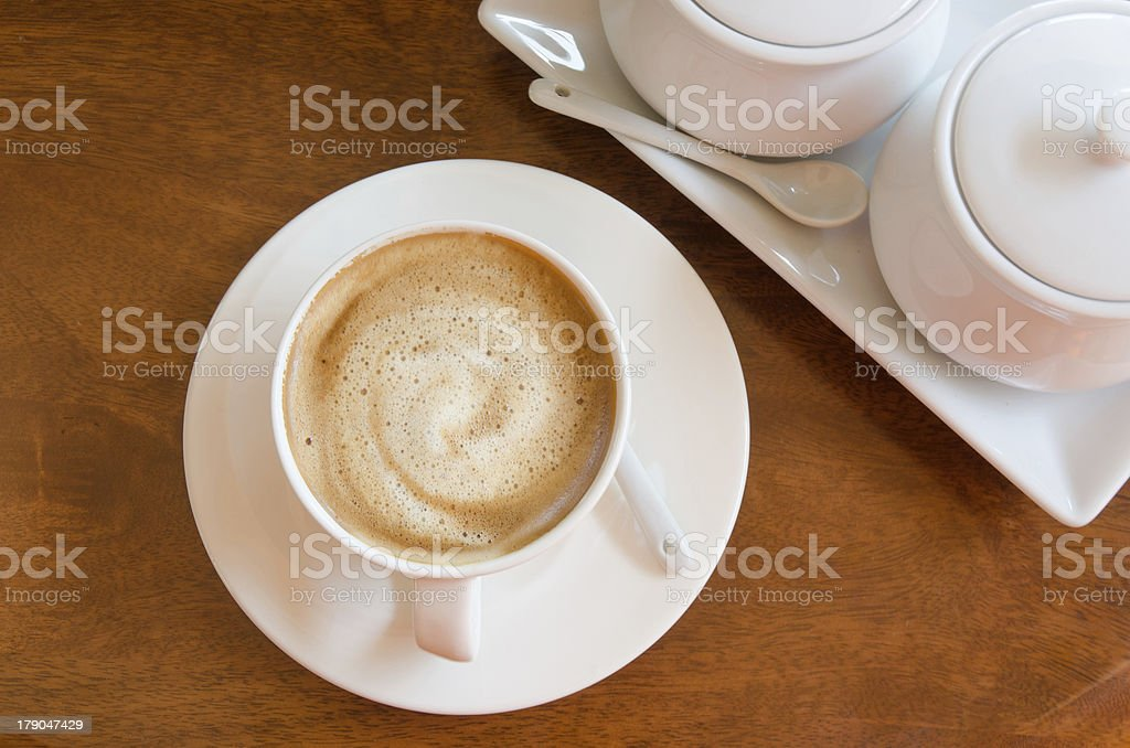 Coffee On Wood Top View royalty-free stock photo
