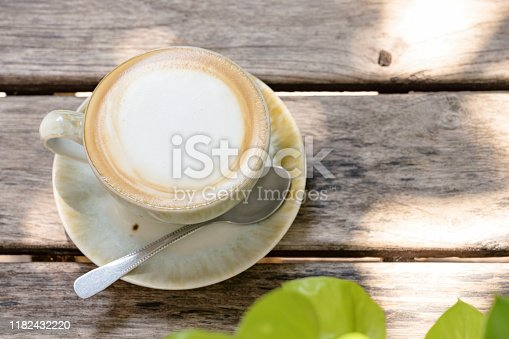 853676006 istock photo coffee on wooden table 1182432220