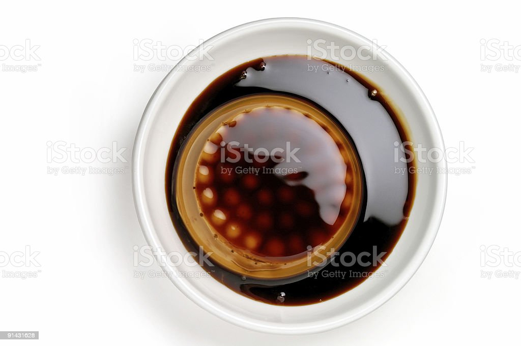 Coffee or chocolate cream dessert closeup from top royalty-free stock photo