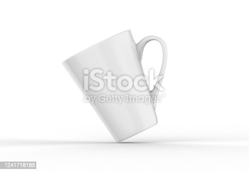 1141440440 istock photo Coffee or tea cup mockup template, blank mug on isolated white background, 3d illustration 1241718183
