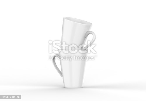 1141440440 istock photo Coffee or tea cup mockup template, blank mug on isolated white background, 3d illustration 1241718186