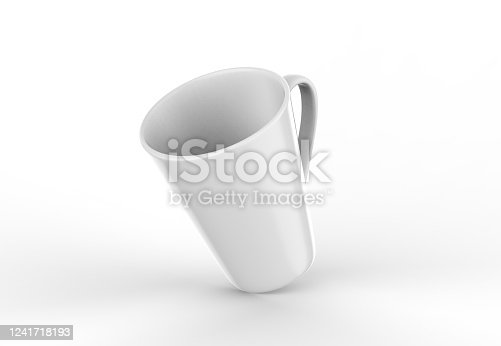 1141440440 istock photo Coffee or tea cup mockup template, blank mug on isolated white background, 3d illustration 1241718193