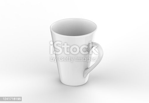 1141440440 istock photo Coffee or tea cup mockup template, blank mug on isolated white background, 3d illustration 1241718195