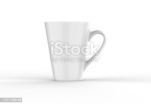 1141440440 istock photo Coffee or tea cup mockup template, blank mug on isolated white background, 3d illustration 1241730248