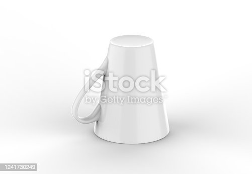 1141440440 istock photo Coffee or tea cup mockup template, blank mug on isolated white background, 3d illustration 1241730249