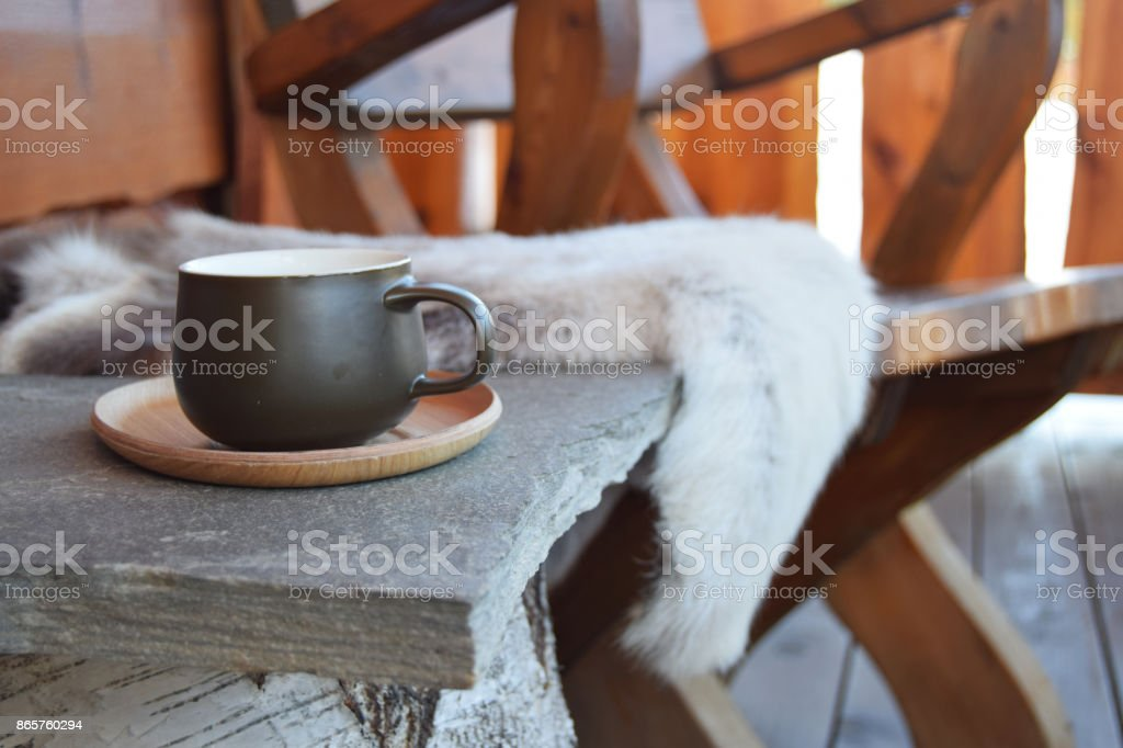 Coffee outside at lodge stock photo