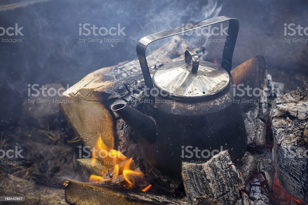 Coffee Pan in Fireplace royalty-free stock photo