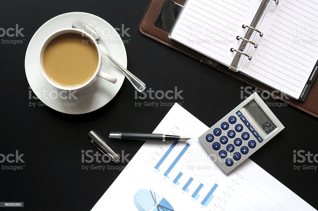 coffee pen phone and paper - Royalty-free Analyzing Stock Photo